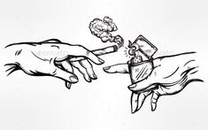 Hands with Weed Joint or Cigarette and a Lighter
