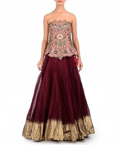 Maroon Lengha with Floral Embroidered Corset - Samant Chauhan - Designers