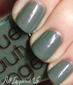 Rescue Beauty Lounge Halcyon: This gorgeous color is a soft, sage green with a pink glimmer of brilliant reflective shine, just like when the morning dew tenderly kisses a succulent plant. The beauty of succulents are calm and serene.