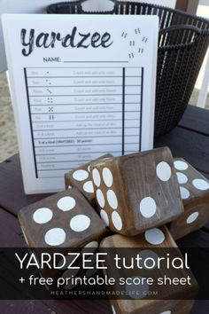 DIY Yahtzee for the yard {Heather's Handmade Life} Diy Yard Games, Diy Games, Backyard Games, Garden Games, Outdoor Games, Outdoor Fun, Awesome Woodworking Ideas, Woodworking For Kids, Woodworking Crafts