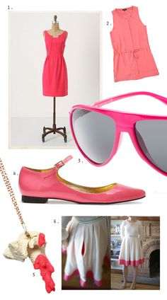 watermelon - color block dress, shoes, and shades