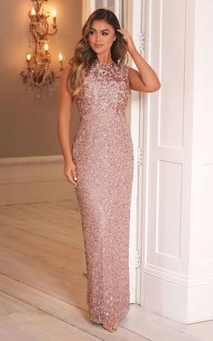 BLAKELY ALL OVER SEQUIN MAXI DRESS IN ROSE GOLD by Sistaglam Gold Gown Dress, Rose Gold Gown, Maxi Dress With Sleeves, Rose Gold Dresses, Rose Gold Long Dress, Rose Gold Sequin Dress, Pink Dresses, Prom Dress, Gold Bridesmaid Dresses