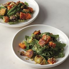 Roasted Brussels sprouts and butternut squash are the stars of this quinoa-based dinner. Tahini sauce comes in handy.