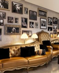 Hotel Fouquet's Barriere ( Paris, France ) The interiors are a great mix of vintage and modern, splicing old photos with gold sofas.