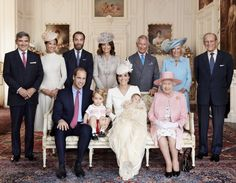 Celebrity photographer snapped this shot of the Royal Family posing beside Kate's family for a official christening photo. (L-R) Michael Middleton, Pippa Middleton, James Middleton, Carole Middleton, Prince Charles, Camilla, and Prince Philip all gather around Kate, Will, Charlotte and George to shower them with love and support on the special day.