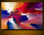 "Large abstract painting by Dan Bunea: ""The sunset in my dreams"",  80x120cm"
