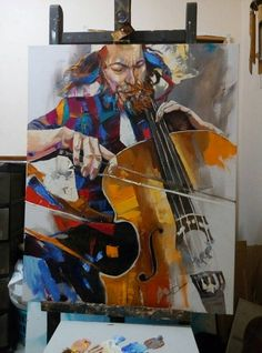 Jewish Musician Cellist Contemporary Pallete by art4heart2014