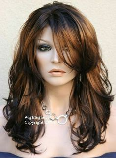 Find great deals for Long Layered Wavy Side Swept Fringes Hairstyle Synthetic Womens Wigs 20 Inches. Fringe Hairstyles, Hairstyles Haircuts, Pretty Hairstyles, Layered Hairstyles, 1940s Hairstyles, Teenage Hairstyles, Hairstyles Videos, Easy Hairstyle, Formal Hairstyles