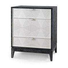 'Borneo 3-Drawer Side Table, Black