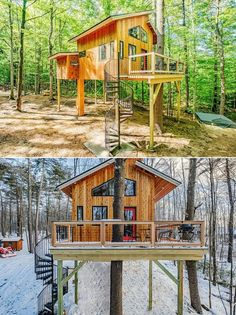 The Canopy treehouse is designed and build ground up from recycled and reclaimed material. A spiral staircase leads one to the door that is made from locally surfaced wood to reduce the treehouse's carbon footprint. The treehouse is also super-insulated with ultra-efficient heating and hot water.