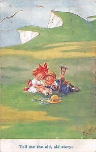 T-GILSON-OLD-Postcard-1917-CUTE-COMIC-CHILDREN-TELL-ME-THE-OLD-OLD-STORY
