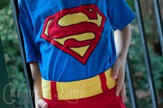 Homemade Superman costume - also a Wonder Woman costume, Hawk Girl, and Batman.