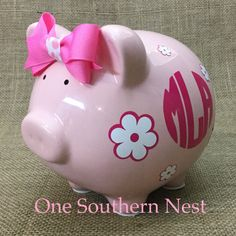 A personal favorite from my Etsy shop https://www.etsy.com/listing/472053060/personalized-large-pearhead-piggy-bank