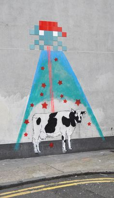 """""""Space Invader Stole My Cow"""", Street Art by Id-Iom"""