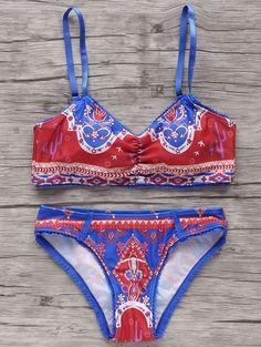 Lace Trim Printed Bikini Set - BLUE/RED M