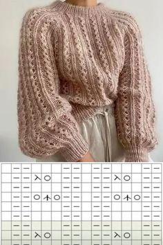 Knitting Charts, Lace Knitting, Knitting Stitches, Knitting Patterns, Filet Crochet, Knit Crochet, Crochet Cardigan Pattern, Knit Fashion, Embroidery Patterns