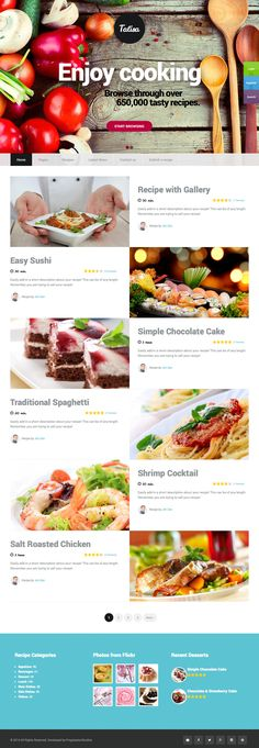 Webdesign | Cooking | Design | Website | Talisa – Food Recipes WordPress Theme Published by Maan Ali