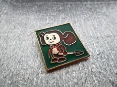 very rare soviet pin badge Cheburashka pioneer - green a character of children Russian cartoon. Made in the USSR.