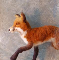 Foxes rank among the top animals that I love to paint and felt. I hate to get too mushy but sometimes I cant believe how beautiful, diverse, and mysterious our world and the creatures that inhabit it are.    When I set out to make this fellow I just hoped to do him justice. He is about 24 nose to tail tip and about 10 at his shoulder - approximately 1/2 life sized. I needle felted various sheeps wools onto a flexible wire armature. As you can see from the photos he can be posed in any wa...