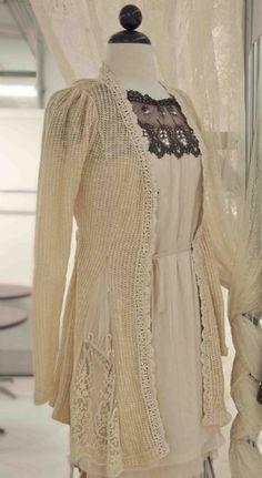 Women's Winter White Crochet & Lace SweaterNow in Stock