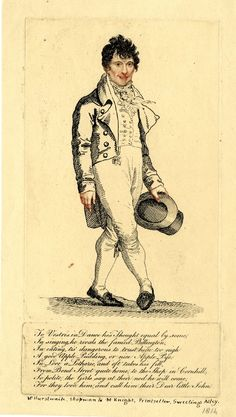 1814  Mr. Hurstwaite. shopman to M. K  Whole length portrait, head and hands in tinted stipple. Fashionably dressed but rather clumsy man, hat in hand, in dancing pose, right foot advanced with pointed toe.  britishmuseum.org