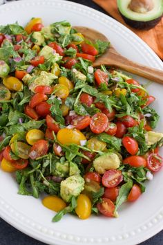Avocado Arugula Cherry Tomato Salad with Balsamic Vinaigrette