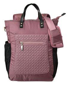 Sherpani Blush Soleil Convertible Backpack | zulily  . $54.99 $96.00  .  Description: 11'' W x 15.5'' H x 5'' D .     3.5'' handle drop .     24.5'' max. strap drop .     Anti-theft zip locks .     Anti-slash mesh bottom .     Zip closure .     Nylon / mesh .     Interior: two slip pockets .     Exterior: large slip pocket, two water bottle pockets, small slip pocket, cellphone pocket and pen holder .     Imported .