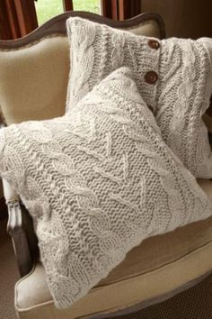 From Soft Surroundings Outlet, Valais Knit Euro sham cable knit pillow. So cute with the buttons and on sale! Sweater Pillow, Knit Pillow, Old Sweater, Comfy Sweater, Sweaters, Cardigans, Tapetes Diy, Knitted Cushions, Euro Shams