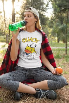 #fashionwomens #tshirtsforwomen #tshirtdesign #duck #ducklings #animals #animalsandpets #nurse #doctor Silly Gifts, Parent Gifts, Best Clothing Brands, Corgi Gifts, T Shirts With Sayings, Cool Tees, Cotton Shorts, Gift For Lover, T Shirts For Women