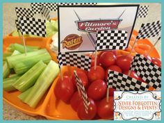 Disney Cars Food Labels for Lightening McQueen Birthday Party Vege Food Tray! Created by Never Forgotten Designs