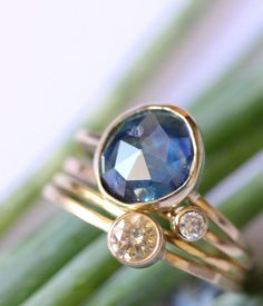 Rose Cut Blue Sapphire In 14K Yellow Gold Ring