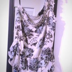 One shoulder top. Flower print with beading across the front. Worn only once. Jessica Simpson Tops