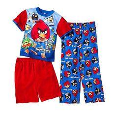 AME Sleepwear Boys 2-7 Angry Birds Really Angry 3 Piece Pajama Set $24.99
