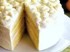 Use gluten free flour.Enjoy this Italian-inspired lemon-flavored limoncello cake with a creamy mascarpone cheese frosting. Try this simple recipe. Lemon Desserts, Lemon Recipes, Just Desserts, Sweet Recipes, Baking Recipes, Frosting Recipes, Cupcake Recipes, Cupcake Cakes, Dessert Recipes