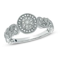 Cherished Promise Collection™ 1/10 CT. T.W. Diamond Scroll Promise Ring in Sterling Silver - Size 6