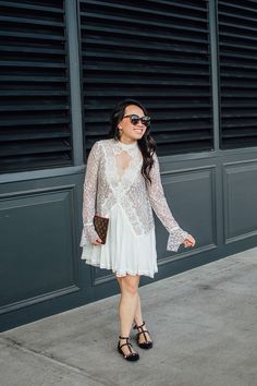 easy holiday outfit to recreate // this free people white lace dress is so pretty