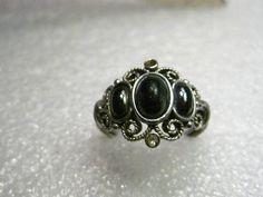 Vintage Silver tone and Faux Hematite Avon Ring, Size 8 #Avon #fashion