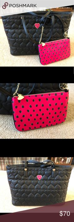 Betsey Johnson Tote Bag - NWT! Color - black Quilted hearts design  Brand new!! Includes Pom Pom keychain and wristlet/wallet Betsey Johnson Bags Totes