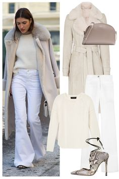 Take winter whites to the extreme with a shearling coat, flared jeans, and heels: