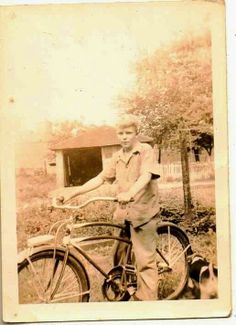 Vintage Antique Photograph Young Boy Sitting on Old Time Bicycle Bike