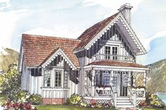 Lacy trim gives this Victorian style update an eye-catching front facade. Slender windows flank French double doors that open into a living room only partially separated from the kitchen/dining area. Victorian House Plans, Victorian Style Homes, Victorian Farmhouse, Victorian Cottage, Gothic House, Cottage House Plans, Small House Plans, House Floor Plans, Farm House