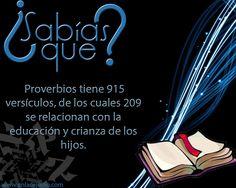 #SabiasQue #Proverbios tiene 915 versículos, de los cuales 209 se relacionan con la #educacion y #crianza de los hijos