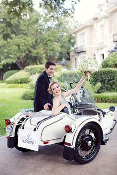 Want something fun and quirky? Try an adorable side car getaway! Photo by Sarah Kate, Photographer. Styling by DFW Events. #wedding #transportation #getaway