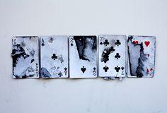 damaged set of cards