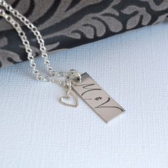 Personalized Couple Initial Necklace with Heart Charm- Handstamped Initial Necklace- Wedding Necklace. $42.00, via Etsy.