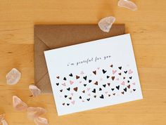 SET OF 4 // i'm grateful for you hearts // greeting by yaymeeralee