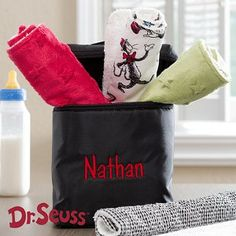 Dr. Seuss Embroidered Bottle Bag and a 4-Burp Cloth Set at $ 39.95 for Newborn Babies
