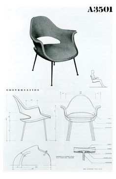 chair model by Charles Eames and Eero Saarinen, for MoMA's Organic Design for Home Furnishing Competition in 1941 Eero Saarinen, Charles Eames, Architecture Concept Drawings, Architecture Design, Toy Art, Famous Furniture Designers, Vitra Chair, Chair Drawing, Wakefield