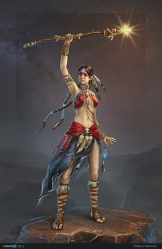 f Warlock barbarian Leather Armor Necklace Circlet Armband Staff female Night Wilderness Hills desert lg Female Character Concept, Character Design Cartoon, Character Design Inspiration, Character Art, Dungeons And Dragons Characters, Dnd Characters, Fantasy Characters, Female Characters, Photoshop Fail
