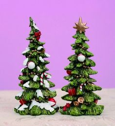 "Gorgeous Resin Christmas trees are ready to be set up on your dining table or buffet. They are fabulous as gifts! - Measures 3""L x 3""W x 5.5""H"